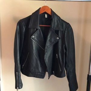 Topshop Genuine Leather Moto Jacket - US 8